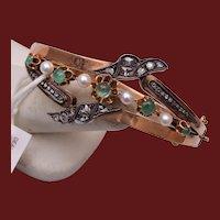 14kt Mine Cut Diamond, Emerald and Pearl Hinged Bangle Bracelet