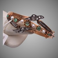 14kt Mine Cut Diamond, Emerald and Pearl Hinged Bangle Bracelet