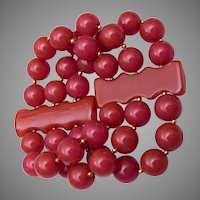 3 Strand Red Bakelite Stretch Bracelet