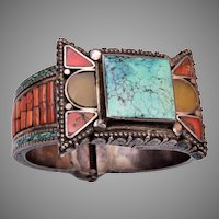 Tibetan Inlaid Coral, Turquoise and Stone Hinged Bangle Bracelet