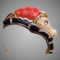 Hattie Carnegie Enamel and Molded Plastic Seahorse Bracelet