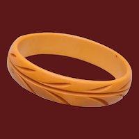 "Carved Butterscotch Bakelite Bangle Bracelet 1"" Wide"
