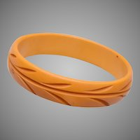 "Carved Butterscotch Bakelite Bangle Bracelet 1"" Wide"