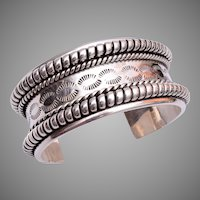 Heavy Sterling Mexico Cuff Bracelet