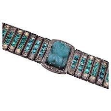 Sterling Leach and Miller Aqua Rhinestone and Glass Bracelet