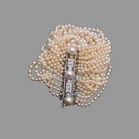 Gorgeous Akoya Pearl Bracelet with Diamond Clasp
