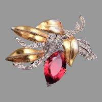 DeRosa Red Flower Fur Clip