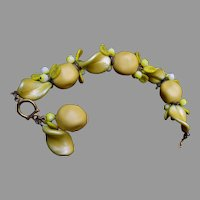 Yellow Pearl and Glass Bracelet