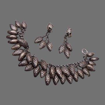 Napier Patent Pending Pine Cone Charm Bracelet and Earring Set