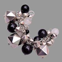 Large Lucite and Geometric Metal Charm Bracelet