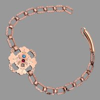Gold Filled Bracelet with Red, White and Blue Stones