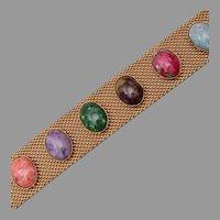 Sarah Coventry Art Glass Cabochon Mesh Bracelet