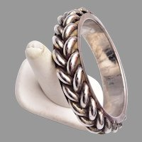 Silver Tone Braided Bangle Bracelet