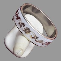 White Enameled Hinged Bangle Bracelet