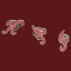 KAJ Pink Rhinestone Lapel Pins