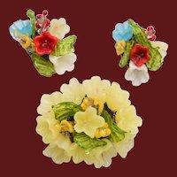 Glass Flower Earrings and Brooch