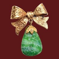 Beautiful Molded Green Glass Brooch