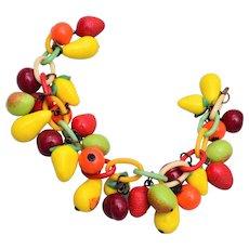Glass Fruit and Celluloid Charm Bracelet