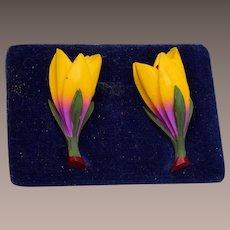Dyed Bone Beautifully Carved Flower Earrings