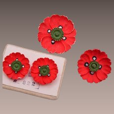 Swiss Made Bone Poppy Brooch and Earring Set