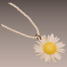 Swiss Made Bone Flower Necklace