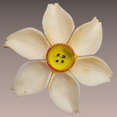 Carved Bone Flower Brooch