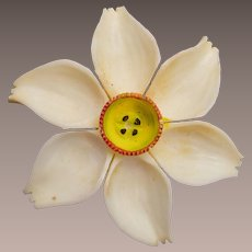 Carved Bone Flower Brooch