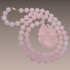 Pink Jade Carved Necklace