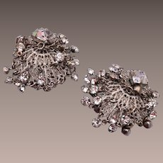 Dangling Rhinestone Clip Earrings