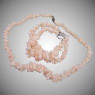 Angel Skin Coral Necklace and Bracelet Set 14kt Clasp