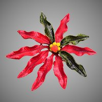 Enameled Poinsettia Christmas Brooch