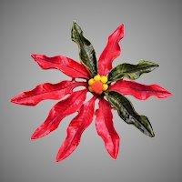 Enameled Poinsettia Christmas Brooch