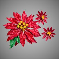Large Poinsettia Brooch an Earring Set - Christmas