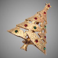 Christmas Tree Brooch With Red and Green Rhinestones