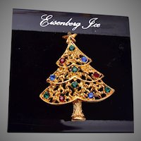 Eisenberg Ice Christmas Brooch On Original Card
