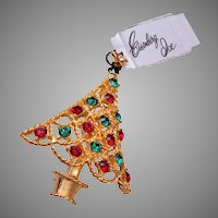 Eisenberg Ice Red and Green Christmas Tree Brooch