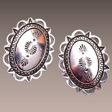 Native American Navajo Sterling Silver Concho Earrings