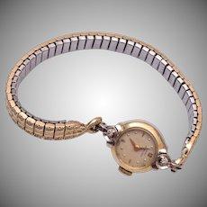 Lady Hamilton 14kt Gold Biggs Diamond Watch - Runs!
