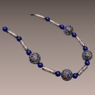 Lapis and Cloisonné Beaded Necklace