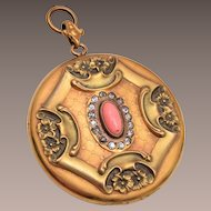 Victorian Art Nouveau and Angel Skin Coral Locket