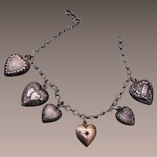Sterling Puffy Heart Charm Bracelet with One Locket
