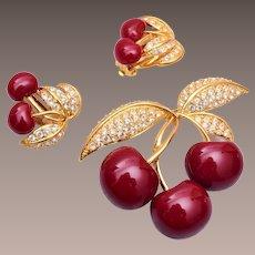 Joan Rivers Enameled Cherry Brooch and Earring Set