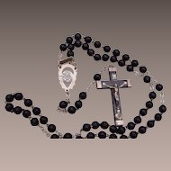 Sterling Silver and Cocoa Bead Italian Rosary