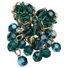 Vendome Green Dangling Crystal Brooch