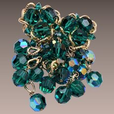Vendome Green Dangling Crystal Brooch