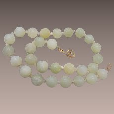 Carved Green Mutton Fat Jade Beaded Necklace