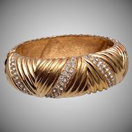 Ciner Hinged Rhinestone Bangle Bracelet