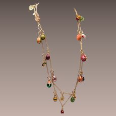 """Joan Rivers Faberge Egg Charm 30"""" Necklace"""