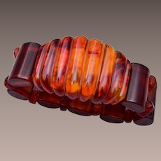 Bakelite and Amber Elastic Stretch Bracelet