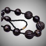 Carved Horn and Inlaid Metal Beaded Necklace